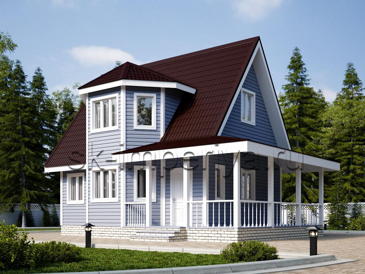 Каркасный дом: проект Лидер с террасой