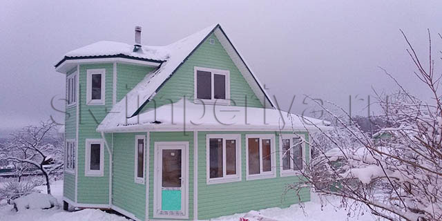 Каркасный дом, проект Лидер с террасой