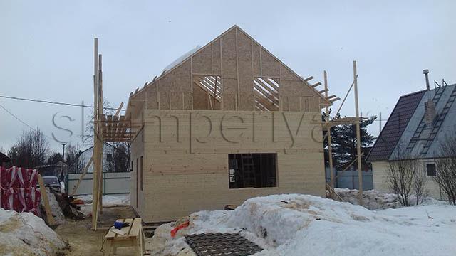 Индивидуальный проект полутораэтажного каркасного дома (6.4х8.4м.)