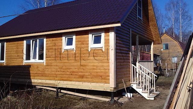 Идивидуальный проект одноэтажного каркасного дома с антрисолью (7х9м.)