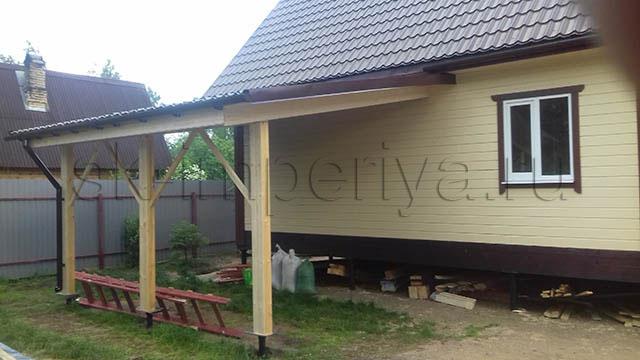 Брусовой дом, проект - Лидер с террасой
