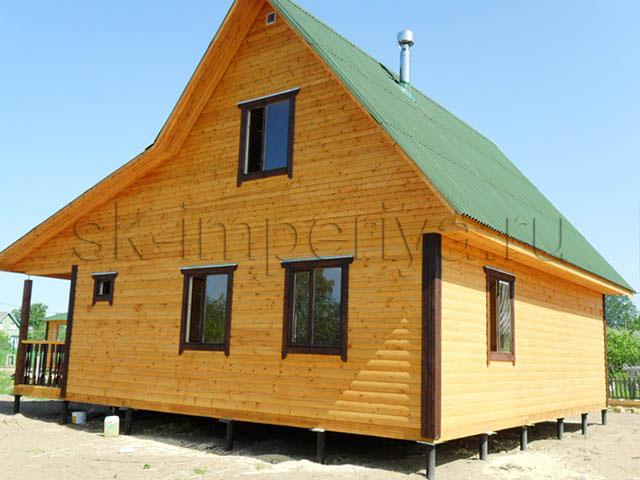Индивидуальный проект брусового дома с мансардным этажом (8х9м.)