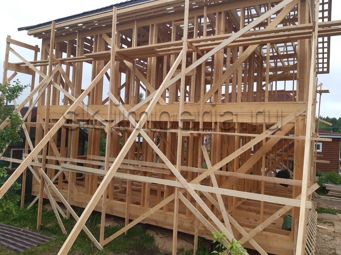 Индивидуальнный проект Каркасного дома, в два полных этажа, размером 9х9м
