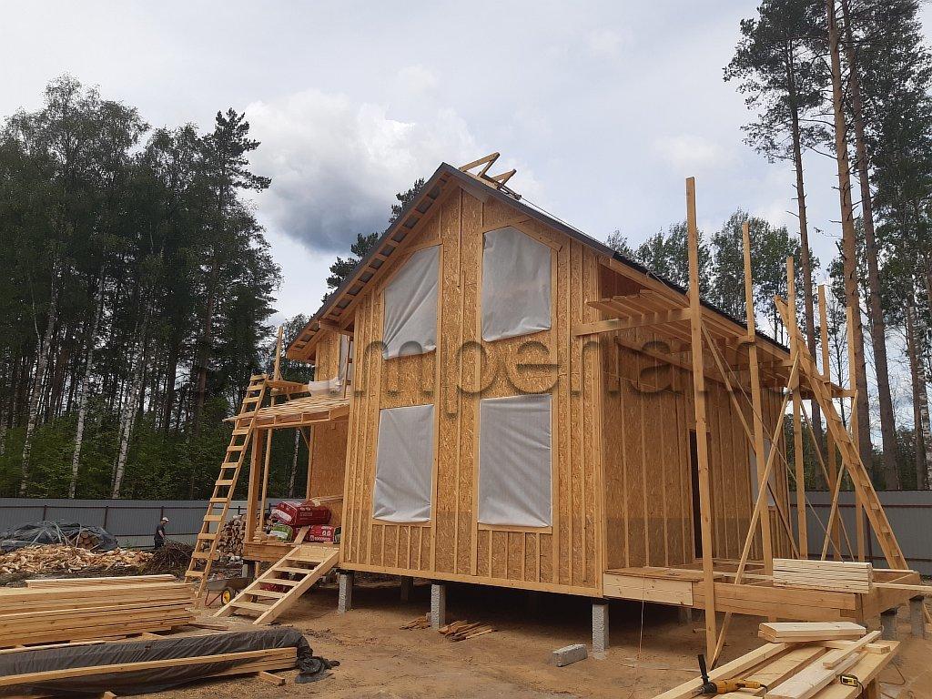 Индивидуальный Проект Полутораэтажного каркасного дома (8х8м.)