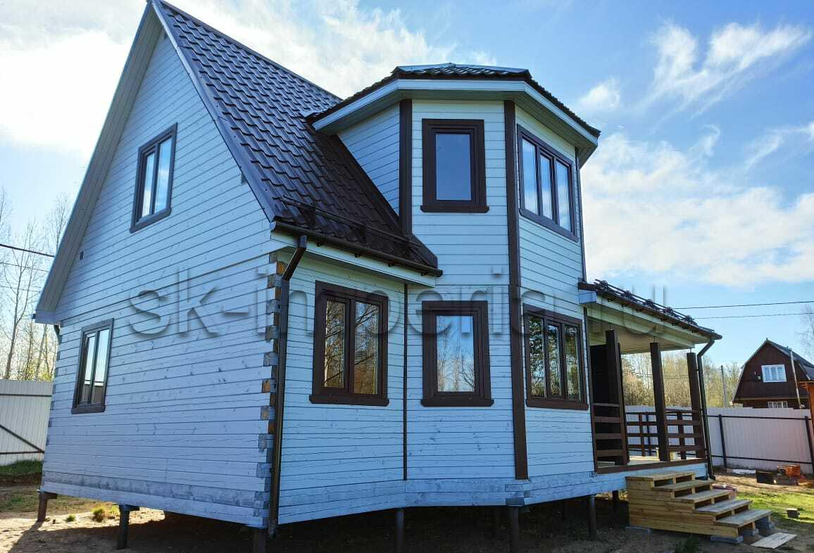 Брусовый дом, проект - Лидер с терассой